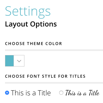 Customize Layouts in Settings